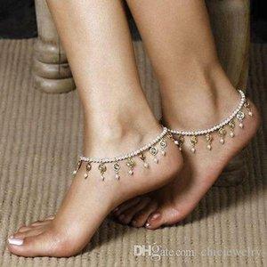 Женщины Девушки Стильный бисер цепь Кристалл Pearl кисточка Женщина голеностопная ножной браслет ноги Сандал Barefoot Beach White Pearl Beads Упругие лодыжки