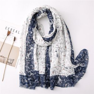New Scarf Tassel Simple Fresh and Soft Cotton and Linen Vine Flower Pattern Sunscreen Shawl Sea Beach Towel