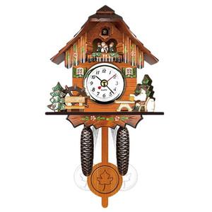 Antique Wooden Cuckoo Wall Clock Bird Time Bell Swing Alarm Watch Home Art Decor 006