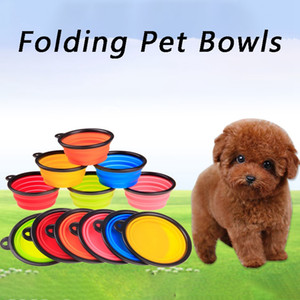 Silicone Folding Dog Bowl Expandable Cup Dish For Pet Cat Food Water Feeding Portable Travel Bowl Portable Water Bowl With Carabiner BC 4224