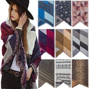 Women Wool Scarf Cardigan 200*67cm Patchwork Plaid Poncho Cape Tassel Winter Warm Blanket Cloak Wrap Shawl Outwear Coat Party Favor RRA3688