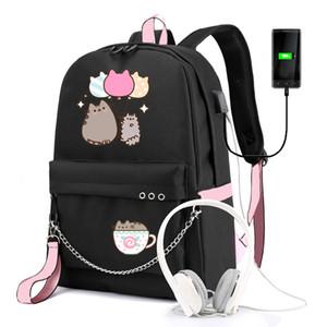Имидо Симпатичный мультфильм студент рюкзак большой емкости дышащий мешок школы с USB зарядный Chain Bundle рюкзак для девочек C1023
