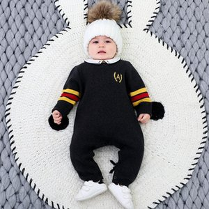 Baby Boy Knitted Rompers Infant Embroidery Knit Jumpsuit Newborn Toddler Autumn Winter Knitted Sweater Children Boutique Outfit