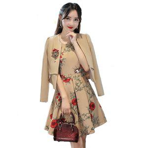 SHERAN Autumn Business Suit Elegant office dresses for ladies suit women 2 piece dress Long Sleeve Blazer Sleeveless Dress 201114