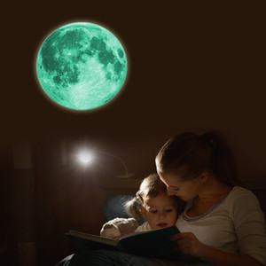 30cm Luminous Moon 3D Wall Sticker For Kids Room Living Room Bedroom Decoration Home Decals Glow In The Dark Wall Stickers DHL Free