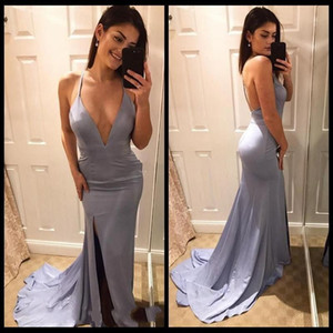 2021 Simple Silver Mermaid Evening Dresses Sexy Side Split Halter Backless Sweep Train Formal Occasion Party Gowns Arabic Prom Dress AL7276