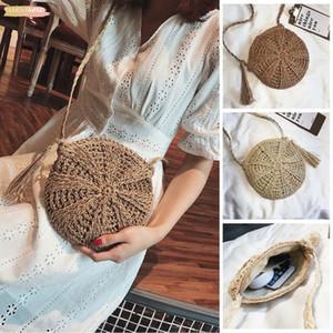 2020 Women New Arrival Cross Body Bag Round Circular Shape Zipper Handmade Rattan Wicker Straw Woven Tassel Basket Holiday