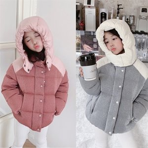pre-sale New Mo Baby Winter Jacket Patchwork Pink Jacket Hooded Down Jacket Baby Girls Boys Clothes Winter 201208