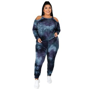 Casual Plus Size Women Tie-dye Printing Tracksuits 2020 Autumn Lady O-neck Hollow Out Tees Skinny Sport Pants Two Piece Sets