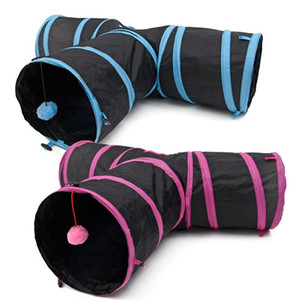 Pet Cat Tunnel Kitten Play Toy Funny 3 WAY Foldable Puppy Crinkle With Ball jouet ch Pet Toy Katten Speelgoed