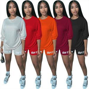 2020 New Summer Letter Print Casual Womens Two Piece Outfits Set Tracksuit Shirt Sexy Top Biker Shorts Jogger 2 piece Active