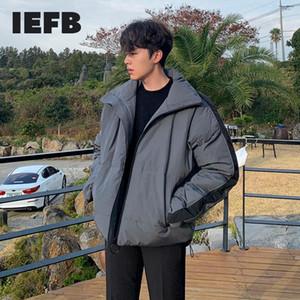 IEFB Baumwolle gefütterte Jacken Herren-Herbst Winter verdickte Winter des Paares Mantel koreanische Mode Stehkragen übergroßen Mantel