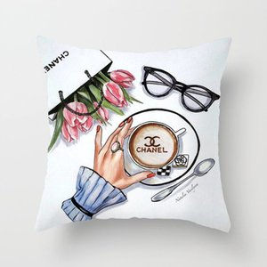 New fashion letter printing comfortable cushion pillow case 45*45cm thin household comfort cushion pillowcase (no pillow)