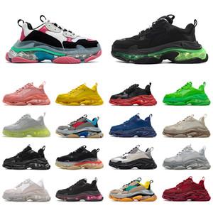 Balenciaga Triple S واضح الوحيد منصة أحذية رياضية فاخرة مصمم جميع أسود أبيض أخضر رجل إمرأة عارضة أحذية سيدة المدربين حجم 36-45