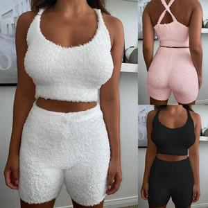 Wool Cloth With Soft Nap Cotton Pajamas Women Sleepwear Solid Sleeveless Sling Pajama Set Shorts Suits Comfortable Nightwear