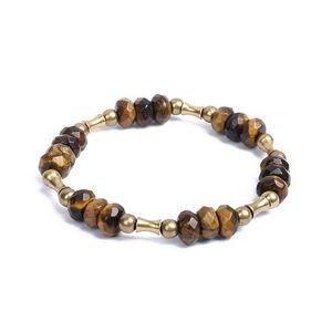 Faced Tiger Eye Beads stirata del braccialetto nero orneblenda Bamboo rame fascino protettivo Buona fortuna Artisan Jewelry Uomo Donna