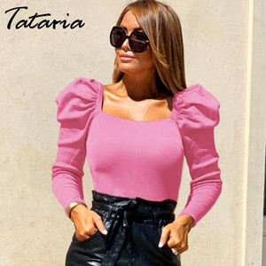 Tataria Solid Square-Neck Tops and Blouse Women Long Puff Sleeve Elegant Workwear Shirt Tops for Women Office Ladies Blouse