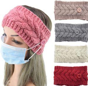 Masque Bandeau avec le bouton Oreille de protection Femmes Gym Sport Yoga Hairband Hairlace Headress hiver chaud tricot Accessoires cheveux KKA8116