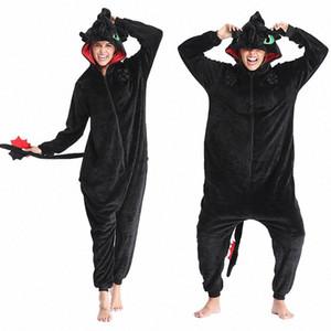 Come Train Your Dragon senza denti Anime Kigurumi inverno delle donne flanella Tutina sveglio animale di Cosplay degli indumenti Tuta Pigiama vrA2 #