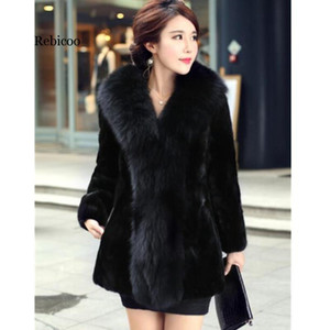 Plus size 5XL women fashion fur coat winter For women faux fur collar long jacket with sections for a rest mink coats