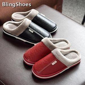 2020 Winter Women Slippers PU Leather Warm Fur Waterproof Women Indoor Slipper Male Couple Fluffy plus Sizes Platform Home Shoes