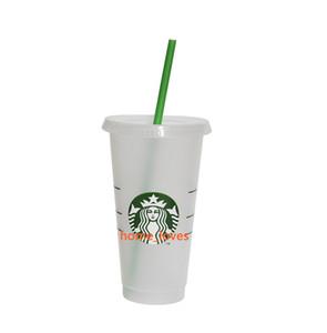 5 pcs 24oz tumblers plástico bebendo suco de suco com lábio e palha mágica caneca de café Costom Starbucks Plástico Transparente Copo