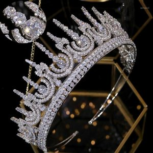 ASNORA New classic cubic zirconia Tiaras bridal wedding 2 3 round princess crown headband luxury ladies hair accessories A008181