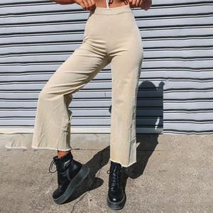 Solid Color Corduroy Pants Slim Sexy Capris Straight Pants Streetwear Women Autumn Fall Trousers High Waist Vintage Pantalones
