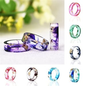 Dried Flowers Rings Transparent Resin Plastic Women Charm Ring Unique Fashion Jewelry for Women and Girls