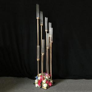 Fiori Vasi 8 teste Candelieri fondali Strada Piombo puntelli stand centrotavola Gold Metal Pilastro Candeliere Per Wedding Candelabra