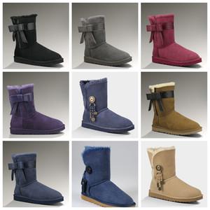 2020 Australische Schneestiefel Frauen Schuhe Zähler Authentische Produkte Kauf Ribbon Bow Kurzstiefel Klassische thermische Baumwolle Schuhe 1016501