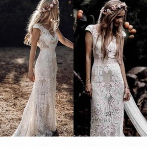 Vintage 2020 Full Lace Mermaid Wedding Dresses V Neck Cap Sleeve Bridal Gowns Bohemian Beach Garden Custom Made vestido de novia