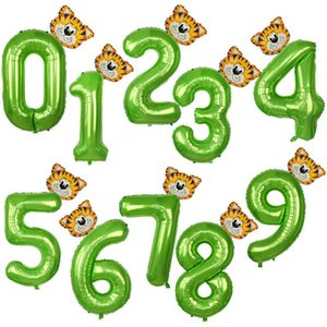 40inch Green Number Balloons With Jungle Animal Balloons Jungle Party Decorations Kids Boy Birthday Party Decoration Baby Shower sqckGT
