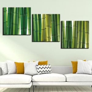 3 Panel Green Bamboo Scenery Wall Art Pictures Canvas Painting HD Prints And Posters For Living Room Home Decoration Giclee Artwork
