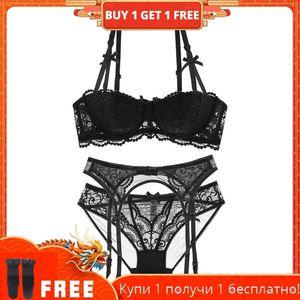 Shaonvmeiwu dentelle sexy 1/2 tasse de soutien-gorge de lingerie séduit 4 pièces avec et bas Y200415