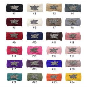 Diamond Knitted Crochet Headband Women Winter Sports Hairband Turban Yoga Head Band Ear Muffs Cap Headbands Party Favor 24 Colors PPD3753