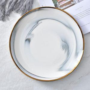 Efecto de mármol de oro Lamer Plato de mármol de la textura de la placa de cerámica Rould de filete fruta de postre Nordic vajilla 6 8 10 pulgadas Gris Rosa