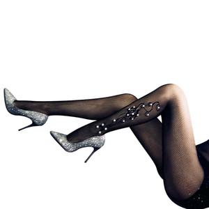 2021 Newest Sexy Diamonds Medias Moda Lady Floral Bordado Hosiery Invierno Mallas Largas Calientes Calentadores Medias