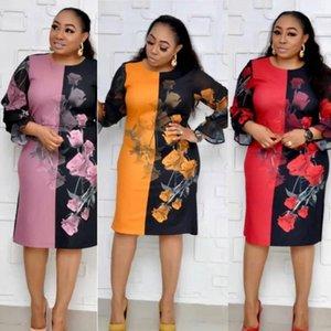 HGTE Afrikanische Mutter Mode Kleid 3XL Große Größe Drucken Splice Vintage Kleid Rot Gelb Lila Rosa1