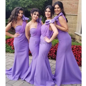 Light Purple Mermaid Bridesmaid Dresses One Shoulder Sweep Train Pleats Bow Garden Wedding Guest Party Gowns Maid of Honor Dress Cheap