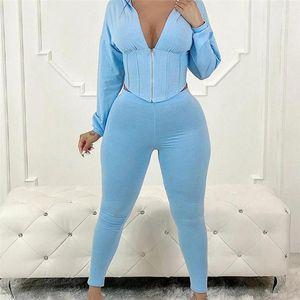 Sexy Two Piece Set Zipper Sweatsuit Hooded Tops Long Sleeve Coat Pants Ladies Suit Track Suit Women Set Matching Suits1