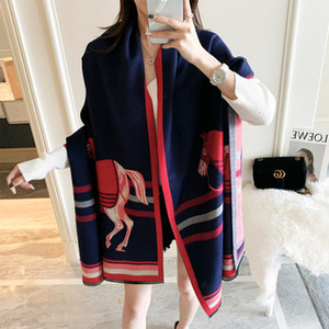 2021 new Winter Scarf Women Cashmere Scarf New Fashion Warm Foulard Lady Horse Scarves Multicolor Thick Soft Shawls Wraps