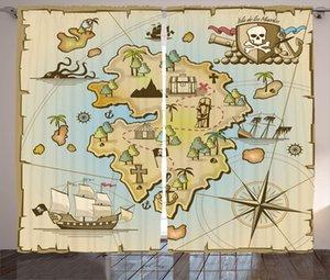 Isola Mappa Tende fumetto isola del tesoro nave pirata petto Kraken Octopus nautico bambini design Soggiorno Camera da letto Finestra