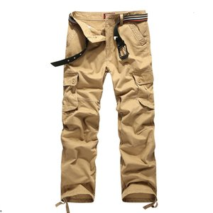 Plus Size Men's Cargo Washed Pure Color Casual Mens Straight-leg Cotton Pants Multi Pocket Overall Men Outdoors Trousers