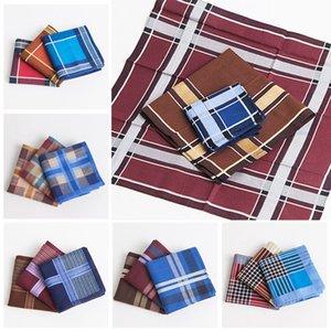 3pcs multicolore Plaid Stripe Men Square Affari Busto tovagliolo della tasca Hanky del fazzoletto 43 * 43cm degli uomini di fazzoletti di cotone