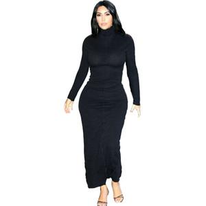 Kgfigu Kim Kardashian Kadınlar Maxi Uzun Elbise 2020 Yaz Siyah Bodycon Elbiseler