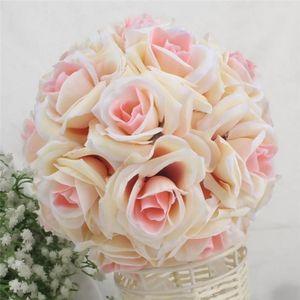 15x21cm Handmade Artificial Rose Flowers Kissing Hanging Ball DIY Bouquet Home Wedding Party Decor MJJ88