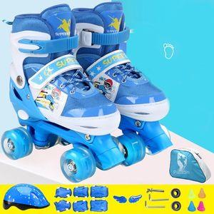 Children adult children double line skating parallel shoes adjustable breathing skating Pu flash wheel helmet protection bag speed pack