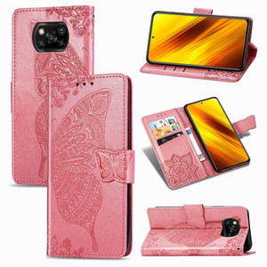 Fashion Butterfly Case PU Leather Wallet Flip Card Holder Phone Case For Xiaomi Poco X3 NFC