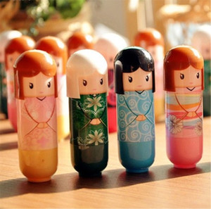 Dessin animé japonais poupée hydratante kimono poupée lèvre baume mignon joli motif cadeau pour fille dame coloré fille baume à lèvres kawaii présents 70 p2